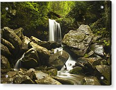 Smoky Mountain Waterfall Acrylic Print by Andrew Soundarajan