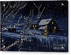 Snowy Winter Scene Of A Cabin In Distance  Acrylic Print by Sandra Cunningham