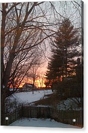 Snowy Winter Sunset Acrylic Print