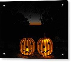 Solar Halloween Pumpkins Acrylic Print by Rebecca Cearley