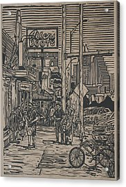 Acrylic Print featuring the drawing South Congress by William Cauthern