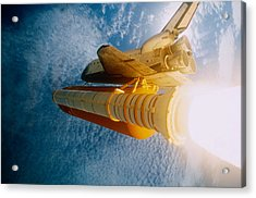 Space Shuttle In Space Acrylic Print by Stocktrek