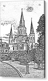 St Louis Cathedral Jackson Square French Quarter New Orleans Photocopy Digital Art  Acrylic Print by Shawn O'Brien