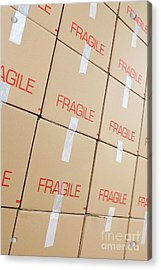 Stacks Of Cardboard Boxes Marked 'fragile' Acrylic Print by Sami Sarkis