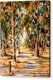 Acrylic Print featuring the painting Stanford Eucalyptus Grove by Dee Davis