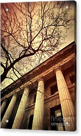 Stark Facade Of Justice Courthouse From Low Angel View  Acrylic Print by Sandra Cunningham