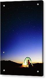 Starry Sky And Stargazer Acrylic Print by David Nunuk