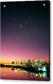 Starry Sky Over Vancouver Acrylic Print by David Nunuk