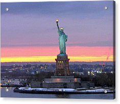 Statue Of Liberty At Sunset Acrylic Print by Mircea Veleanu