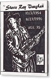 Acrylic Print featuring the drawing Stevie Ray Vaughn by Jeremiah Colley