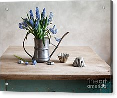 Still Life With Grape Hyacinths Acrylic Print by Nailia Schwarz