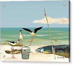Stilts On Beach Acrylic Print