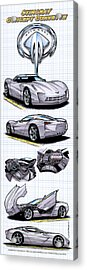 Acrylic Print featuring the drawing Stingray Concept Corvette by K Scott Teeters