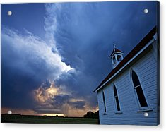Storm Clouds Over Saskatchewan Country Church Acrylic Print by Mark Duffy