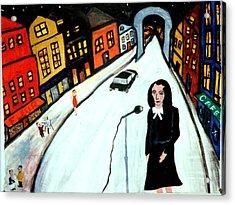 Street Singer Acrylic Print by Eliezer Sobel