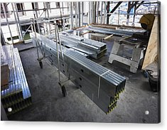 Structural Steel Construction. Metal Acrylic Print by Don Mason