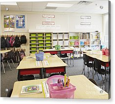 Student Desks In Classroom Acrylic Print by Skip Nall