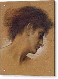 Study Of A Head Acrylic Print by Evelyn De Morgan