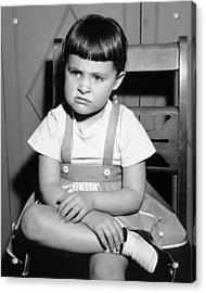 Sulking Girl (4-5) Sitting On Chair, (b&w), Acrylic Print by George Marks