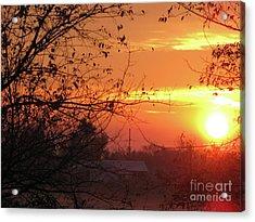 Sunrise Over Rural Homestead Acrylic Print by Cedric Hampton