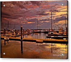 Sunset At The Marina Acrylic Print by Scott Moore