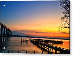 Sunset Bridge Acrylic Print by Kelly Reber