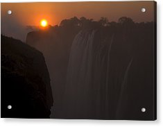 Sunset Over Cascading Victoria Falls Acrylic Print by Ralph Lee Hopkins