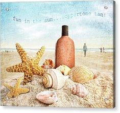 Suntan Lotion And Seashells On The Beach Acrylic Print by Sandra Cunningham