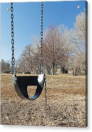Swing Set On A Grass Field Acrylic Print by Thom Gourley/Flatbread Images, LLC