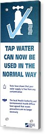 Tap Water Warning Sign Acrylic Print by Victor De Schwanberg