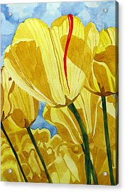 Acrylic Print featuring the painting Tender Tulips by Debi Singer