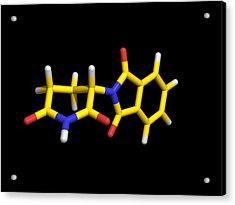 Thalidomide Drug Molecule Acrylic Print by Dr Tim Evans