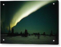 The Aurora Borealis Glows Brightly Acrylic Print by Norbert Rosing