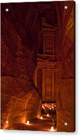 The Famous Treasury Lit Up At Night Acrylic Print by Taylor S. Kennedy