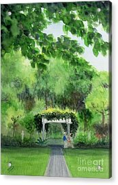 Acrylic Print featuring the painting the garden at the wellers carriage house in Saline  Michigan 1 by Yoshiko Mishina