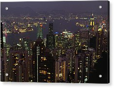 The Hong Kong Skyline Seen Acrylic Print by Justin Guariglia