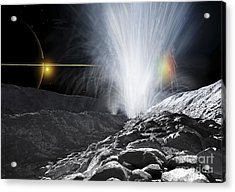 The Ice Fountains Of Enceladus Acrylic Print by Ron Miller
