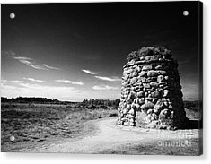 the memorial cairn on Culloden moor battlefield site highlands scotland Acrylic Print by Joe Fox