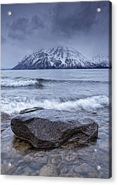 The Shoreline Of Kathleen Lake In Late Acrylic Print by Robert Postma