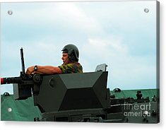 The Turret Of A Pandur Wheeled Armoured Acrylic Print by Luc De Jaeger