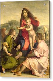 The Virgin And Child With A Saint And An Angel Acrylic Print by Andrea del Sarto