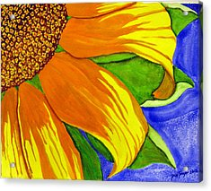 Acrylic Print featuring the painting This Is No Subdued Sunflower by Debi Singer
