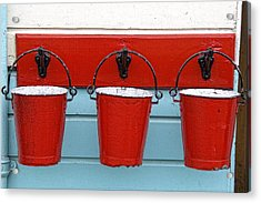 Three Red Buckets Acrylic Print