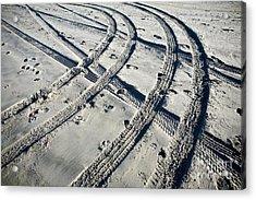 Tire Tracks And Footprints, Long Beach Peninsula, Washington Acrylic Print by Paul Edmondson