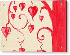Tree Of Heart Painting On Paper Acrylic Print