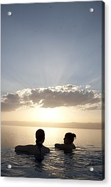Two Friends Enjoy The Sunset Acrylic Print by Taylor S. Kennedy