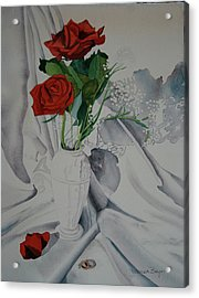 Acrylic Print featuring the painting Two Roses by Teresa Beyer