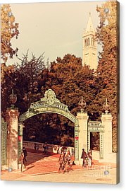 Uc Berkeley . Sproul Plaza . Sather Gate And Sather Tower Campanile . 7d10027 Acrylic Print by Wingsdomain Art and Photography