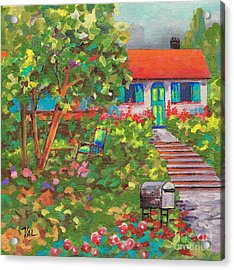 Up The Garden Path Acrylic Print by Val Stokes