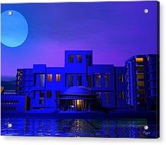Acrylic Print featuring the digital art Urban Blue by John Pangia